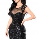 Black Sequin Mesh Cutout Sexy Club Dress