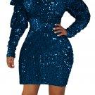 Blue Sequin Off Shoulder Club Dress