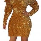 Gold Sequin Off Shoulder Club Dress