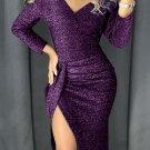 Purple Glitter Ruched Thigh Slit Party Metallic Dress