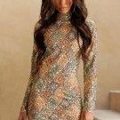 Aztec Sequin High Neck Mini Dress