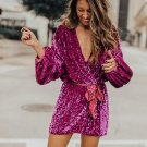 Red Sparkling Sequin Dotted Wrap Mini Dress