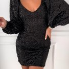 Black Metallic Puffy Sleeves Sequin Dress