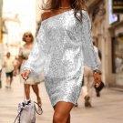 Slanted Shoulder Sequin Dress