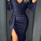 Blue Glitter Ruched Thigh Slit Party Metallic Dress