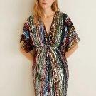Multicolor Sequin Deep V Neck Tunic Dress