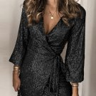Black Sequin Wrap Dress with Sash