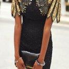 Black Sequin Shoulder Cocktail Party Dress