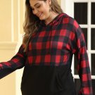Red Plaid Patchwork Plus Size Hoodie