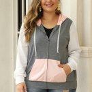 Pink Colorblock Hooded Zip Plus Size Jacket