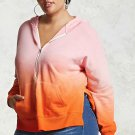 Orange Plus Size Ombre Terry Hoodie