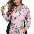 Black/Pink Floral Print Patchwork Plus Size Sweatshirt