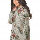Little Girls' Gray Floral Hoodie