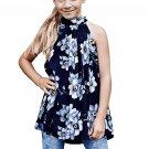 Blue Little Girls Floral A-line Blouse