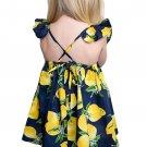 Navy Blue Lemon Print Girls' Sundress