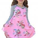 Pink Spring Fling Floral Striped Sleeve Short Dress for Kids