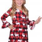 Cute Girls Reindeer Allover Plaid Ruffled Christmas Dress