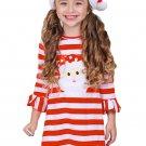 DL Girls Red Striped Santa Applique Ruffled Christmas Dress