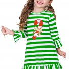 Hot Candy Cane Accent Green White Striped Christmas Dress