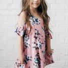 Pink Floral Cold Shoulder Tunic Dress