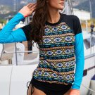 Colorblock Long Sleeve Tribal Print Swim Top