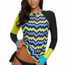 Contrast Yellow Detail Long Sleeve Tankini Swimsuit