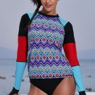 Chic Geometry Coloblock Long Sleeve Rashguard