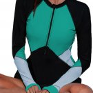 Rash Guards Green Zip Up Neckline Color Block Rashguard Top