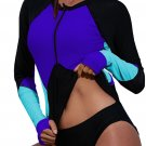 Rash Guards Blue Zip Up Neckline Color Block Rashguard Top