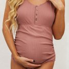 Red Ribbed Snap Front One-piece Maternity Swimsuit