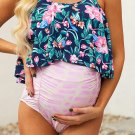 Blue Floral Top Ruched Maternity One-piece Swimsuit