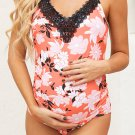 Maternity Floral Print Lace Front One Piece Swimsuit
