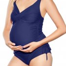 Nany Blue Ruched Maternity Tankini Swimsuit