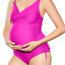Rose Ruched Maternity Tankini Swimsuit
