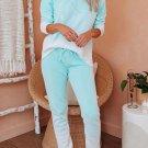 Green Cotton Blend Pocket Tie-dye Loungewear Set