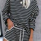 Black Striped Lounge Long Sleeves Shorts Set