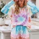 Multicolor Dip Dye Hooded Lounge Sweatshirt Shorts Set