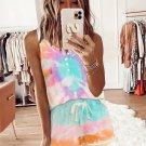 Sky Blue Tie-dye Knit Sleeveless Shorts Pajamas Set