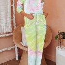 Yellow Cotton Blend Tie Dye Hoodie Joggers Loungewear