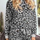 Gray Leopard Long Sleeve Shorts Pajamas Set
