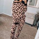 Pink Leopard Print Pants Loungewear Set