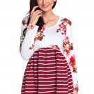 Wine Floral Striped Babydoll Tunic