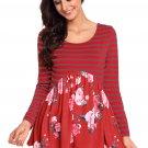 Cheap Purplish Red Floral Striped Babydoll Tunic