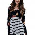 Black Floral Striped Babydoll Tunic