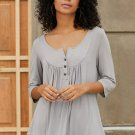 Grey 3/4 Sleeve Button Detail Pleated Tunic