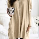 Long Sleeve Tops Apricot Longline Pocketed Top