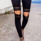 Floral Hollow Out Black Skinny Leggings