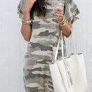 Khaki Pile Of Sleeves Camouflage Dress
