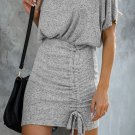 Gray Ruched Knit Dress