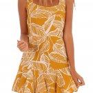 White Leaf Vein Print Mustard Tie Shoulder Dress